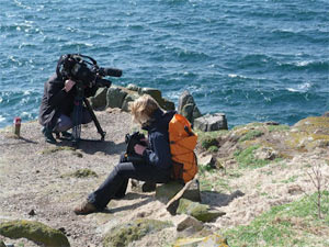 Filming seabirds