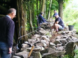 Volunteers dry stone walling