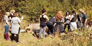 Volunteers taking a break