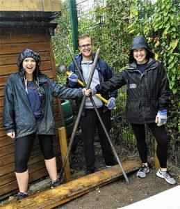 Volunteers in the rain