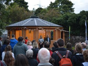 The crowd at the opening of the roundhouse at Hollybush Conservation Centre