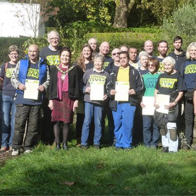 Participants and staff celebrating ten years of Camden Green Gym