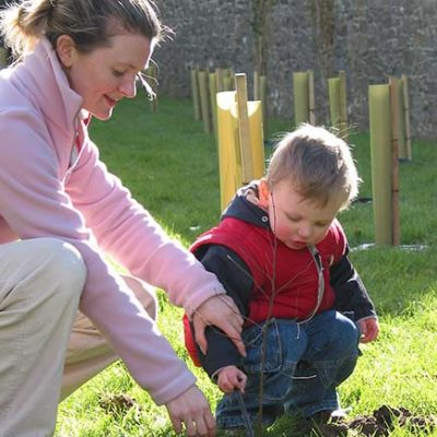 Mother and child planting trees