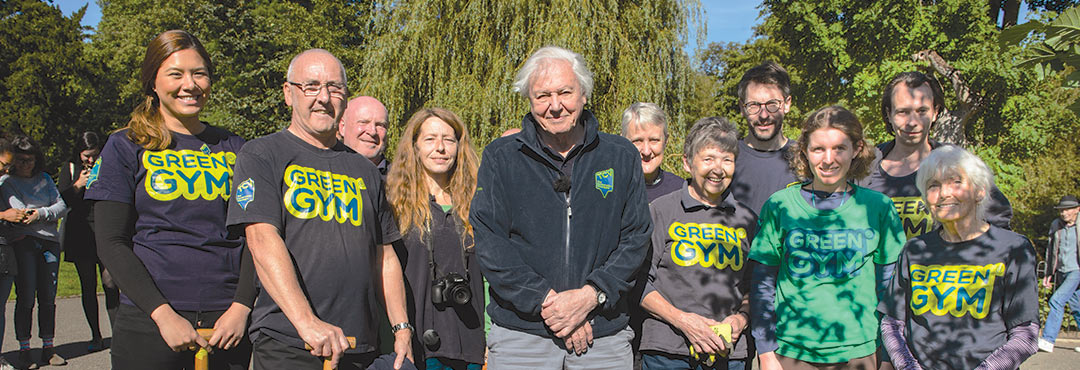 David Attenborough with TCV staff and volunteers