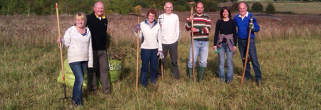 People with scythes in a meadow