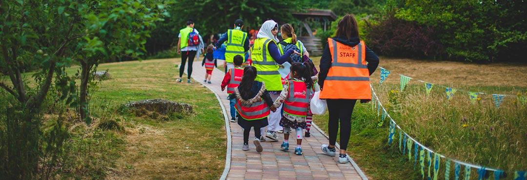 Children and parents at Skelton Grange Environment Centre in Leeds