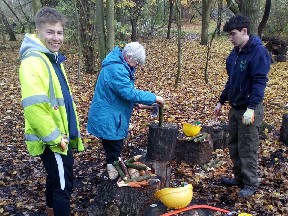 People working in woodland at Skelton Grange