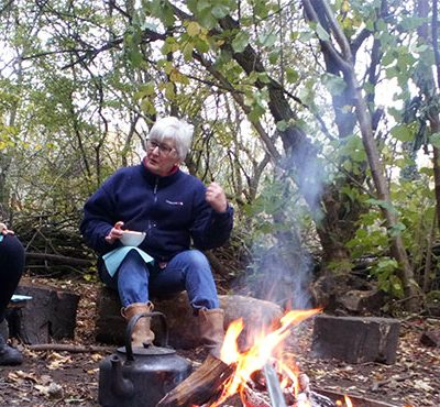 Skelton Grange Green Gym members cooking in the woods