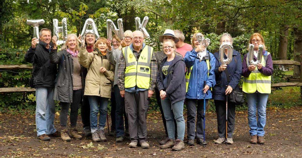 Volunteers saying thank you