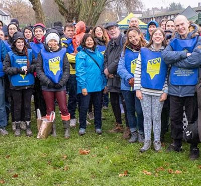 A group of volunteers at TCV's 60th anniversary tree planting event in London