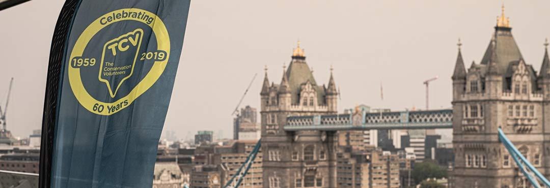 TCV banner flying near London Bridge