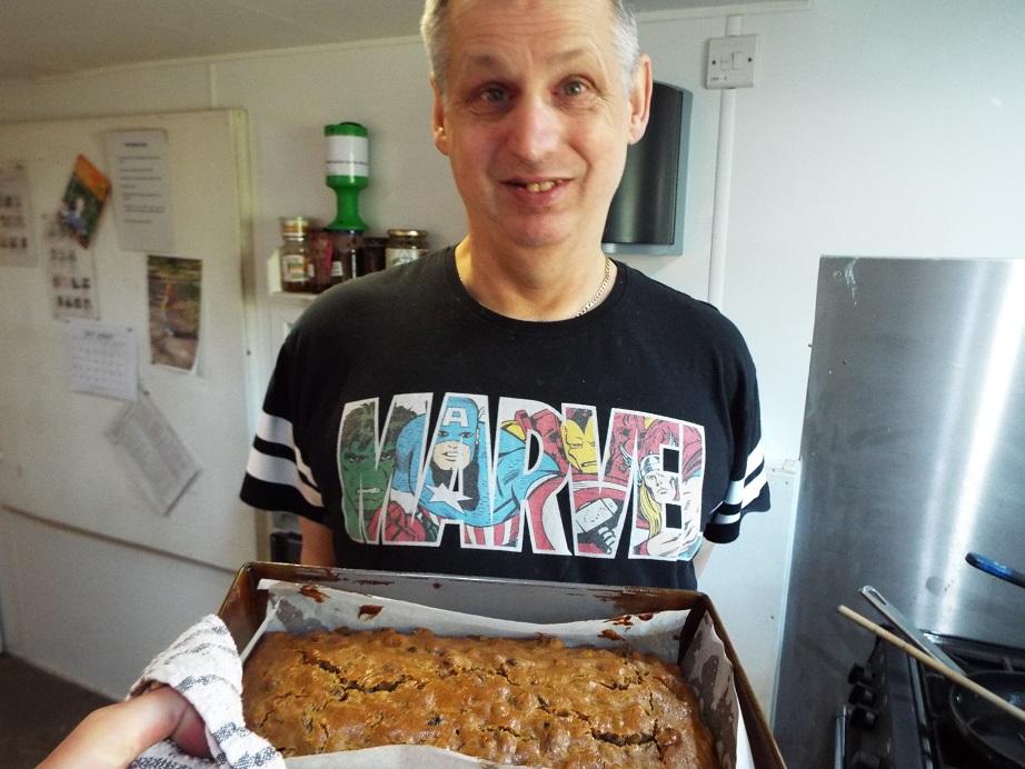 David baking a cake