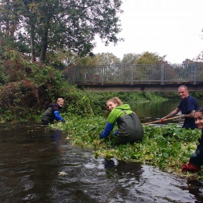 Group doing river conservation
